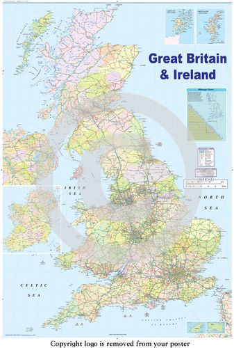 United Kingdom GB  Road Map - Maxi Paper Poster