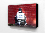 Banksy I want change Beggar - Block Mounted
