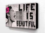 Banksy Life is Beautiful - Block Mounted