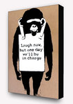 Banksy Monkey One Day - Block Mounted