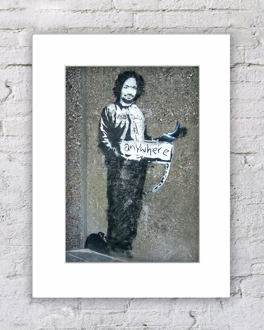 Banksy Hitchhiker Anywhere