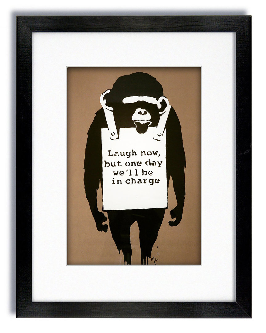 Banksy Laugh Now Monkey Brown