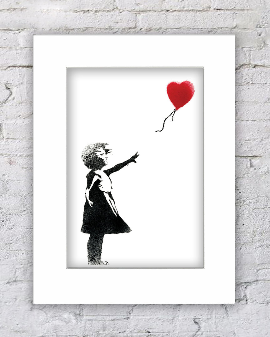 Banksy Balloon girl heart white
