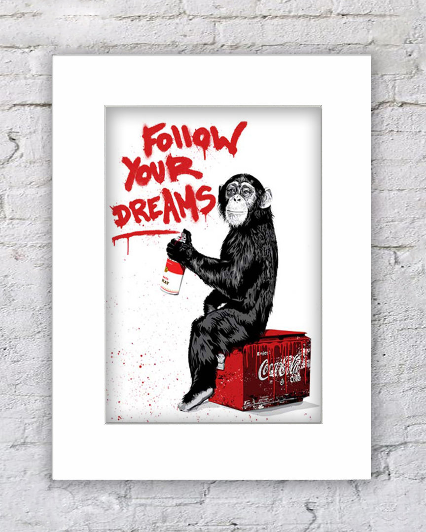 Banksy Monkey Follow Your Dreams WHITE