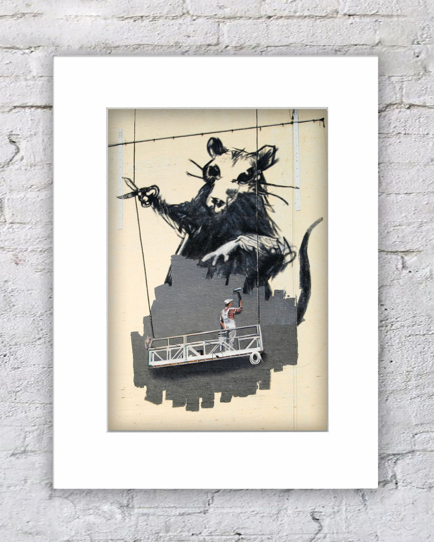 Banksy Rat Cutting Cable Workers Platform