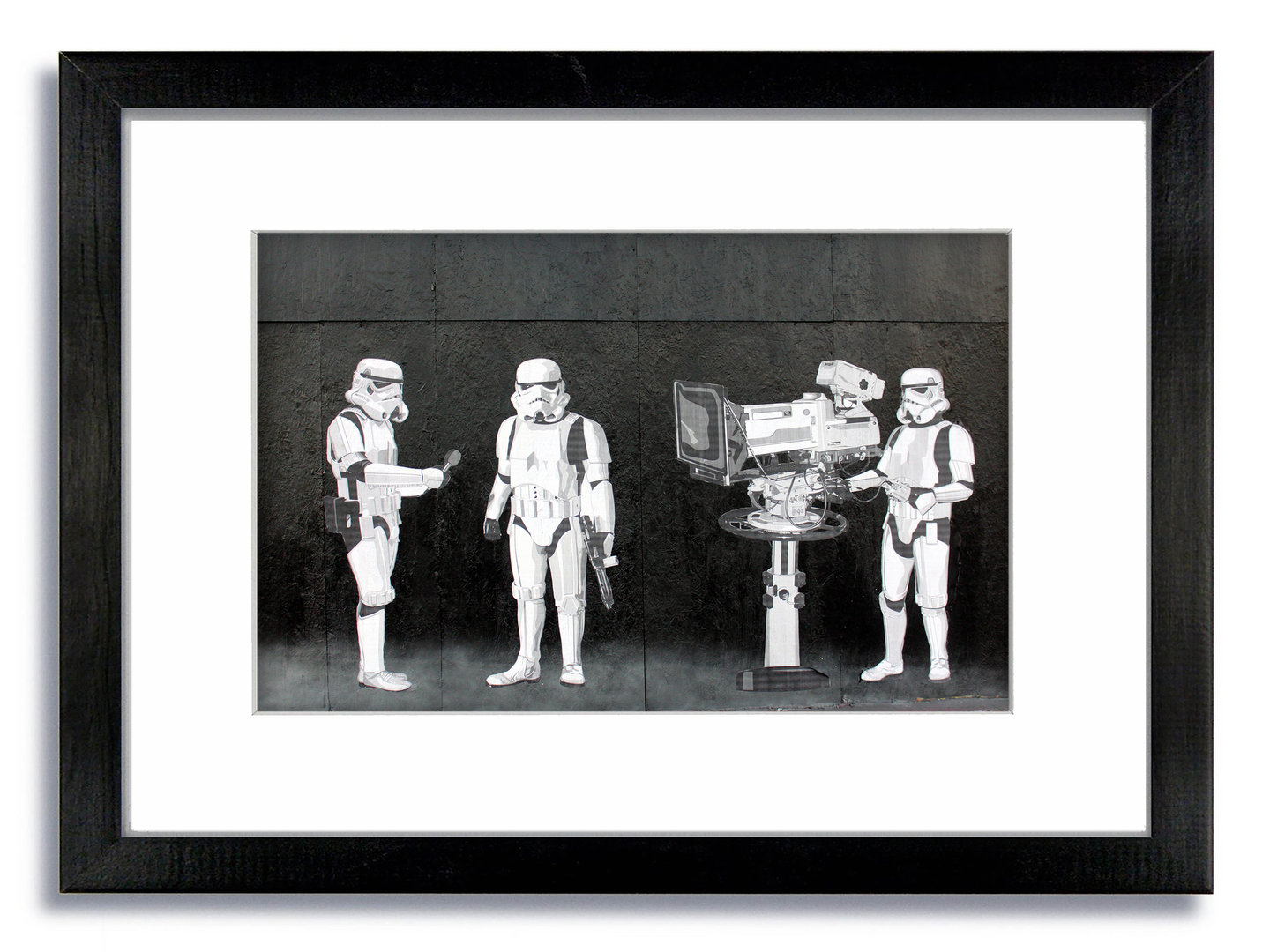 Banksy Star Wars Troopers Tv Camera Framed Mounted Print