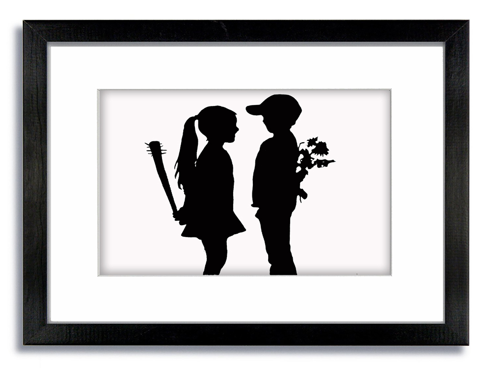Banksy Boy & Girl Flowers & Baseball Bat Framed Mounted Print