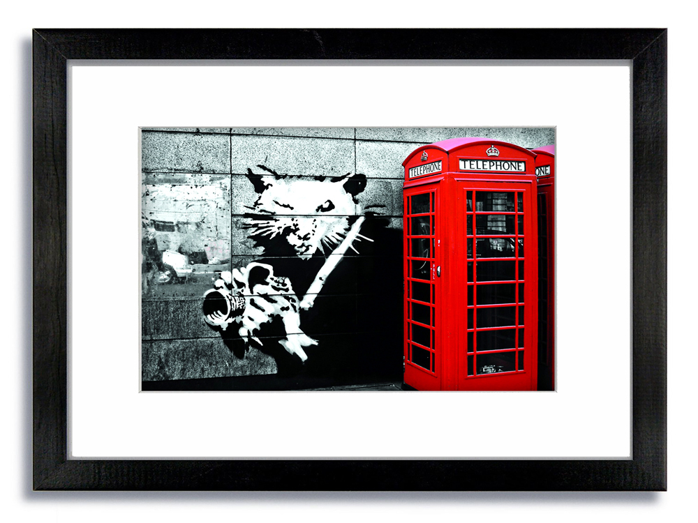 Banksy Rat Camera Telephone Box Framed Mounted Print