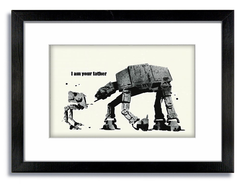 Banksy WHITE I am Your Father Framed Mounted Print