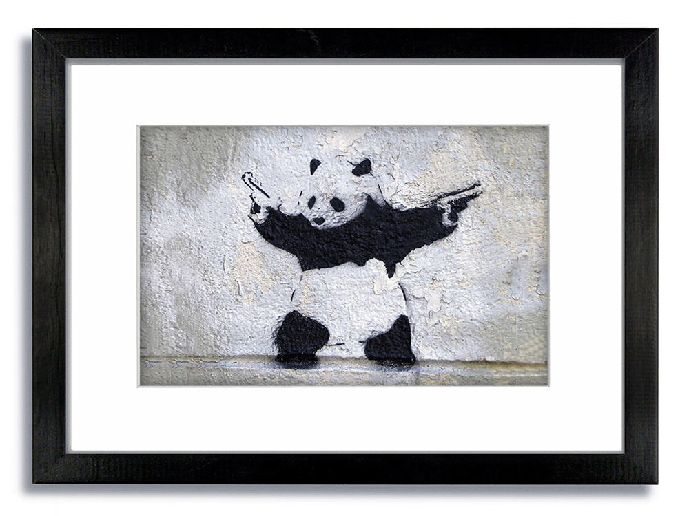 Banksy Pandamonium Guns grey Framed Mounted Print