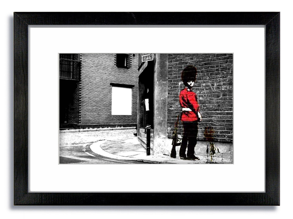 Banksy Queens Guard Hiorizontal 2 tone Framed Mounted Print