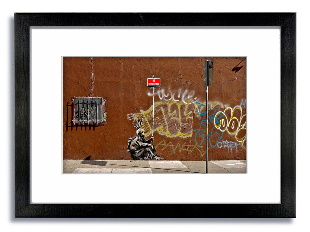 Banksy Indian No Trespassing Framed Mounted Print