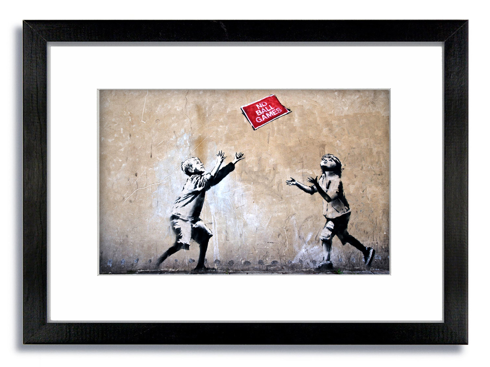 Banksy No Ball Games Children Framed Mounted Print