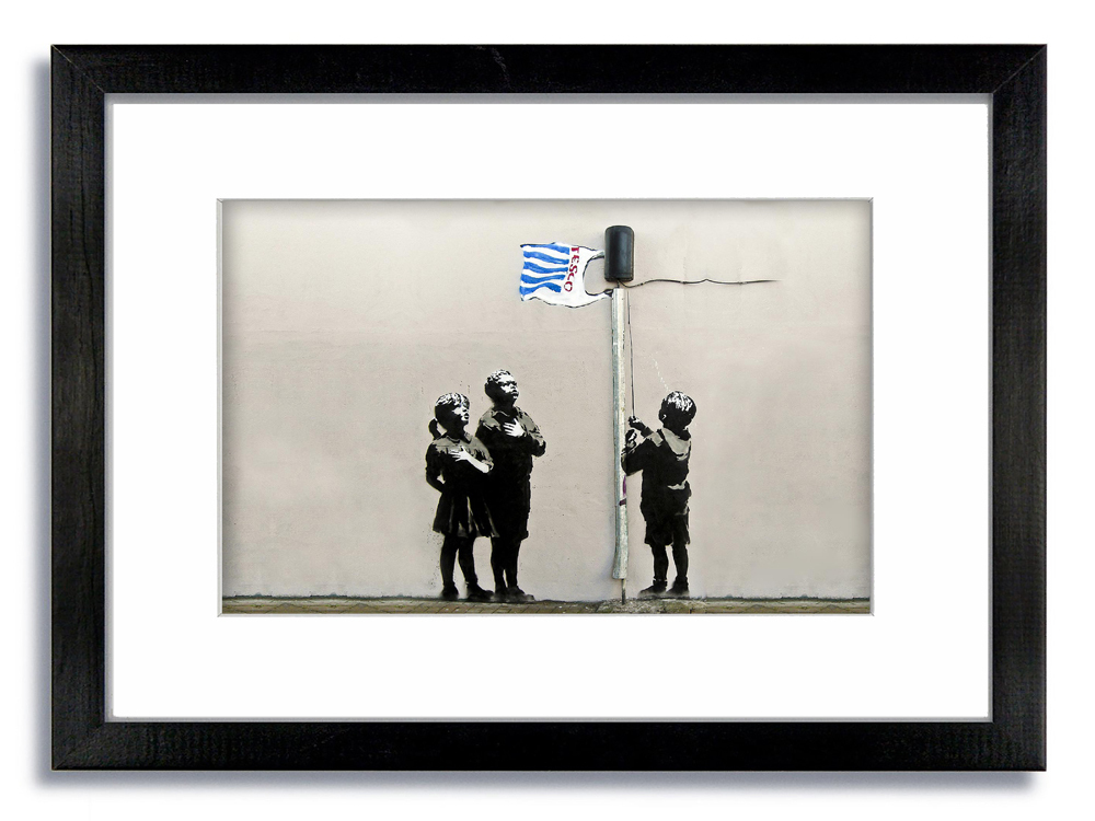 Banksy Tesco Kids Flag Horizontal Framed Mounted Print