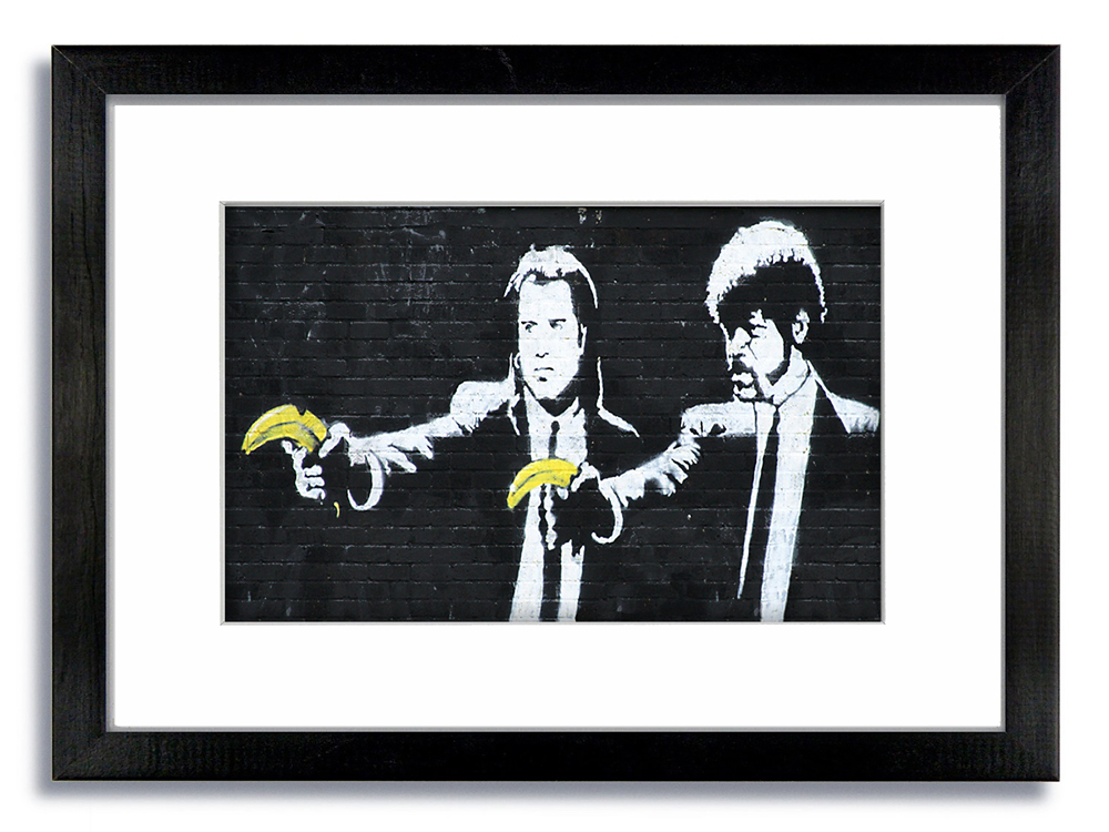 Banksy Pulp Fiction Guns Bananas Framed Mounted Print