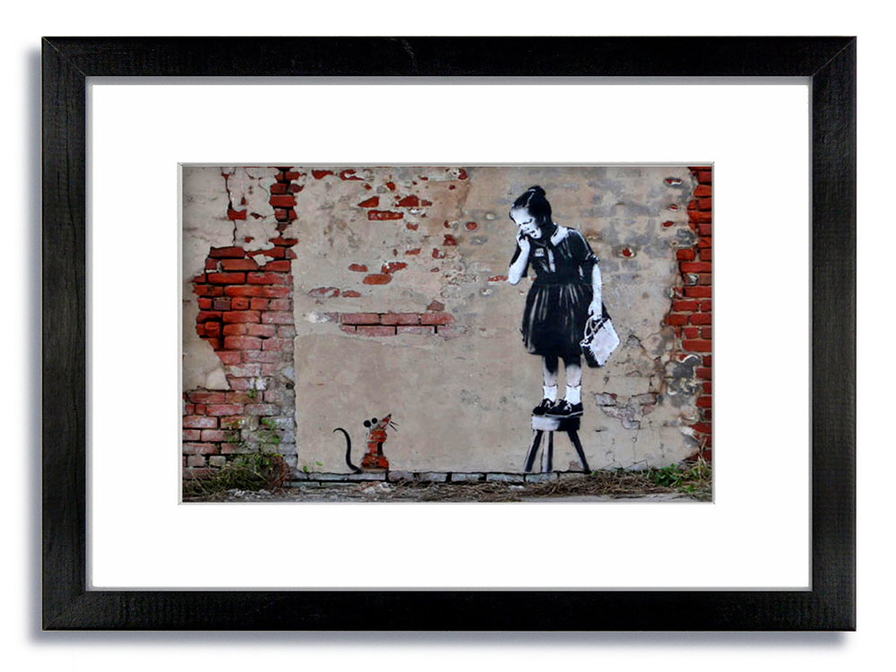 Banksy Rat Girl On Chair Framed Mounted Print