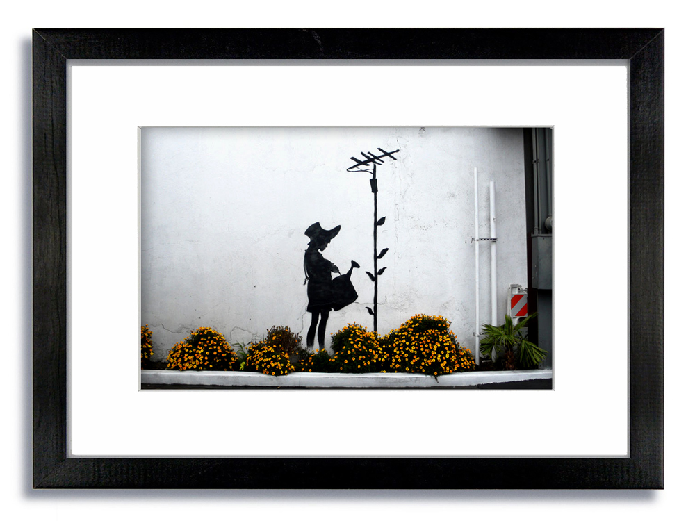 Banksy Water Can Girl Flowers Framed Mounted Print