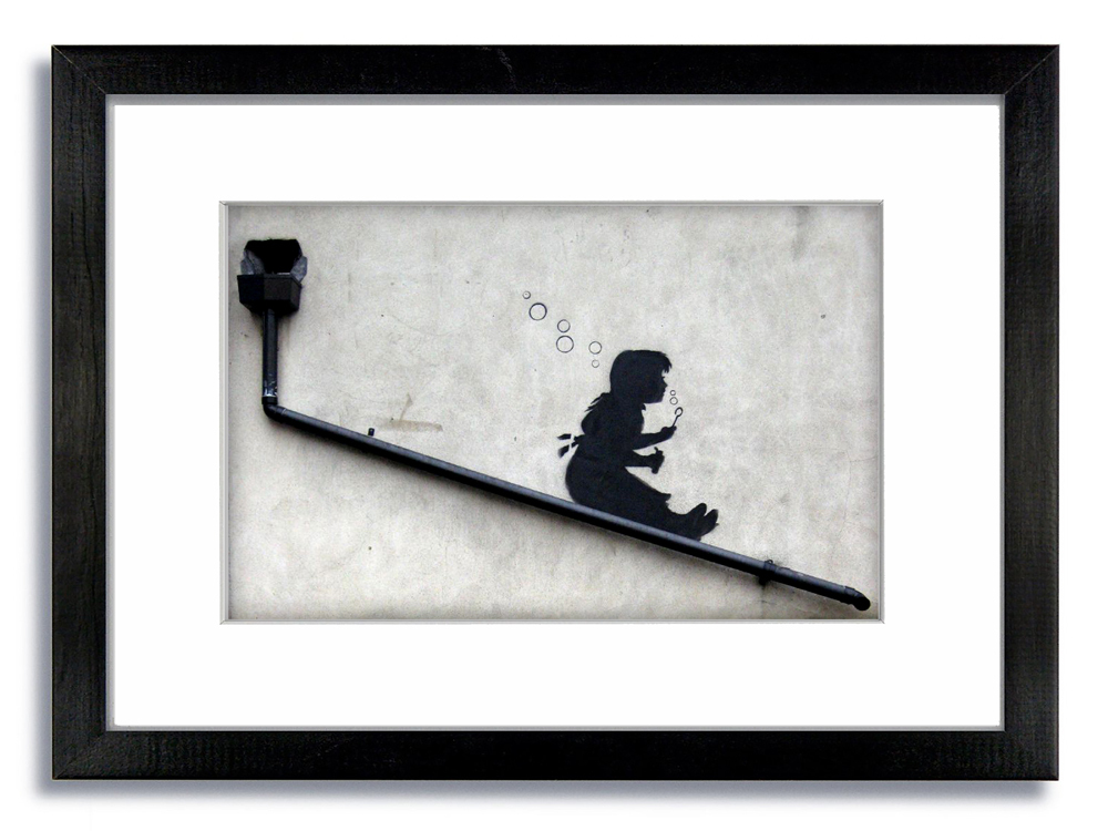 Banksy Bubbles Girl Drainpipe Framed Mounted Print