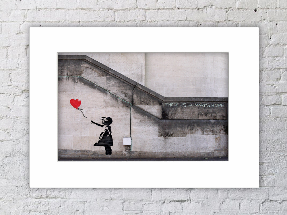 Banksy Balloon Girl There Is Always Hope   Mounted Print