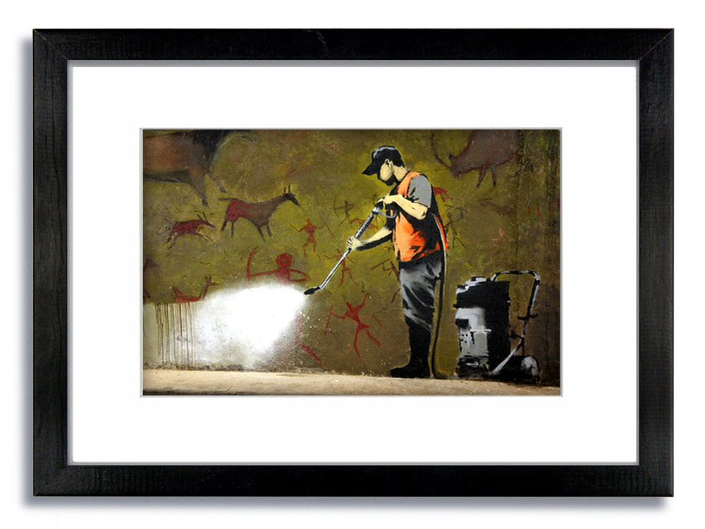Banksy Street Cleaner Framed Mounted Print