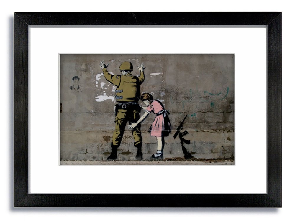 Banksy Girl Searching Soldier Framed Mounted Print