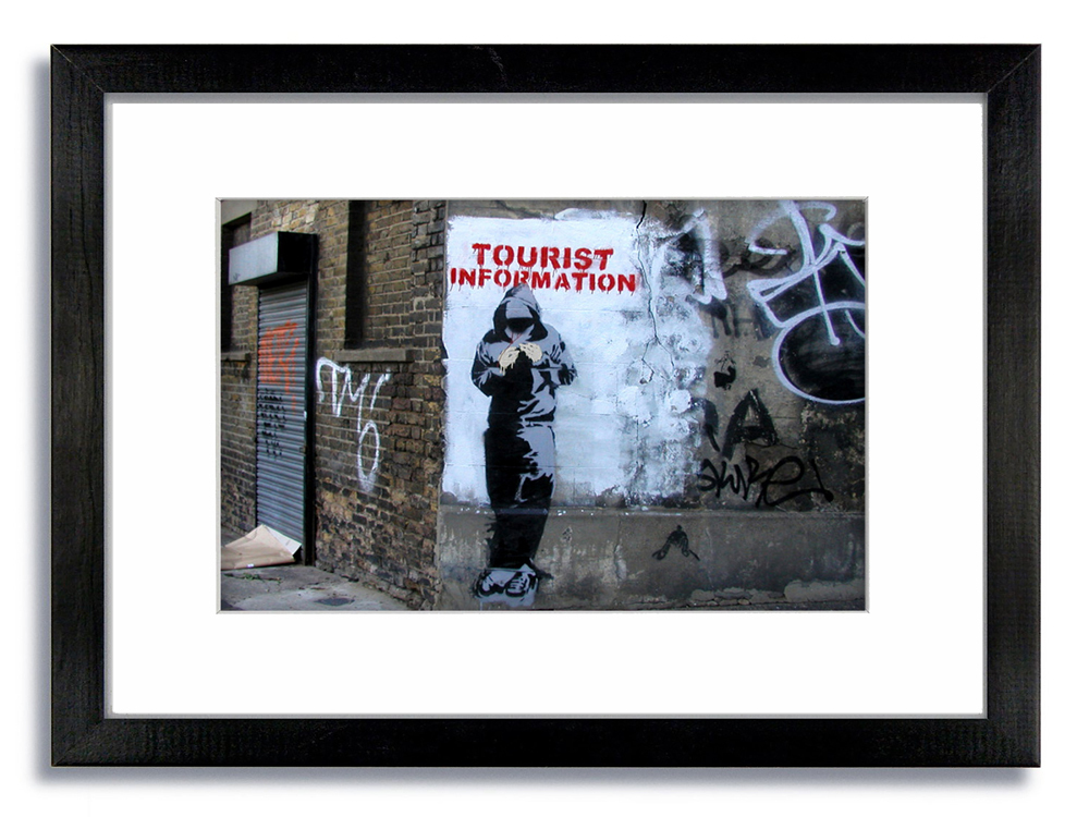 Banksy Colour Tourist Information Framed Mounted Print