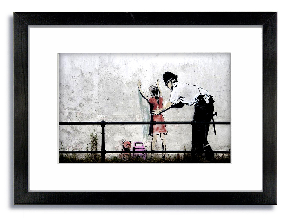 Banksy Copper Searching Girl  Framed Mounted Print