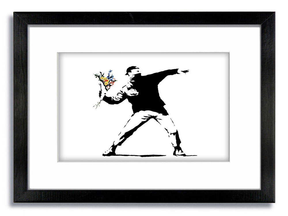 Banksy Flower Chucker Framed Mounted Print