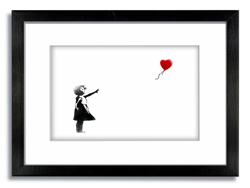 Banksy Balloon Girl White Framed Mounted Print