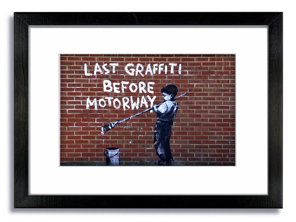 Banksy Last Graffiti Before Motorway Boy Framed Mounted Print
