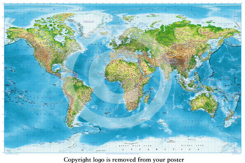 Political Physical Map Of the World Paper Poster