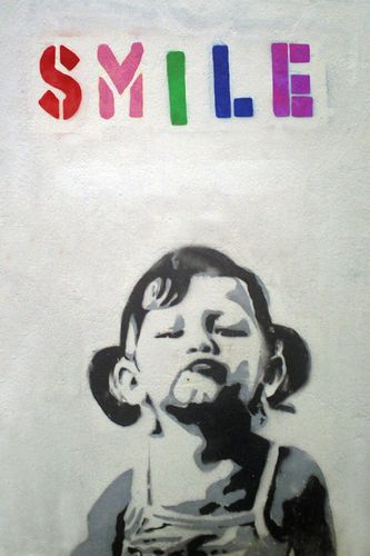 Banksy Smile Girl - Mini Paper  Poster