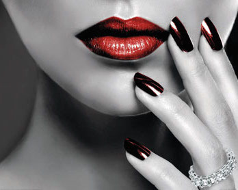 Vogue Style - Red Lips And Nails - Mini Paper Poster