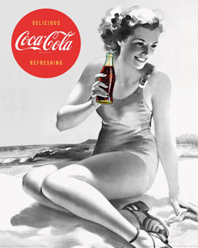 Coca Cola - Vintage Beach Girl - Mini Paper Poster