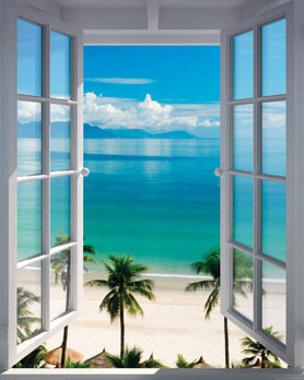 Beach Window - Mini Paper Poster