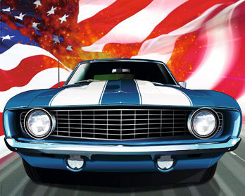 American Classic Car - US Flag C - Mini Paper Poster