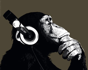The Chimp - Stereo Headphones - Mini Paper Poster