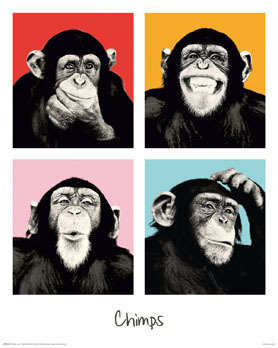 The Chimp - Pop Art - Vertical  - Mini Paper Poster
