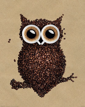 Coffee Owl - Mini - Mini Paper Poster