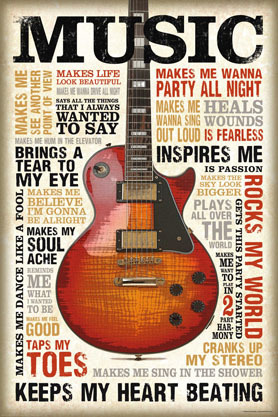 Music Is Passion Guitar - Maxi Paper Poster