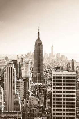 New York At Dawn Sepia - Maxi Paper Poster