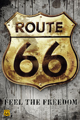 Route 66 Badge Golden Sign - Maxi Paper Poster