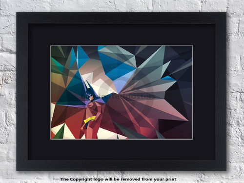 Batman - Cave Man - Superhero- Framed Black Mount
